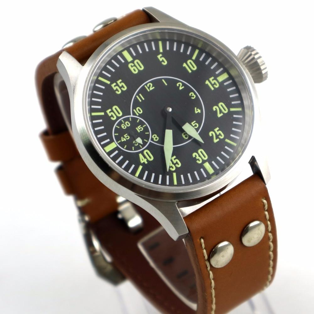 fd708d3af67 43mm parnis Vidro de Safira mostrador preto 3600 mão enrolamento 6497  mecânica mens watch