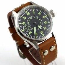 43mm parnis Sapphire Glass black dial 3600 hand winding 6497 mechanical mens watch