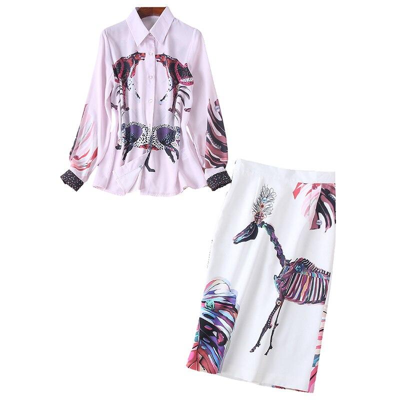 2019 الربيع الوردي والأبيض الحلو Kawaii المرأة الدعاوى الأزياء مجردة الكرتون طباعة قمصان أعلى + Bodycon البسيطة التنانير 2 قطعة مجموعة-في مجموعات نسائية من ملابس نسائية على  مجموعة 1