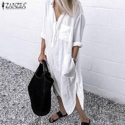 2019 ZANZEA, женские длинные рубашки, платье для офиса, для девушек, для работы, платья, повседневные, одноцветные, с отворотом, Vestidos, хлопковая тун...