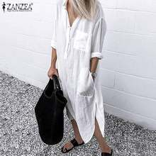 2019 ZANZEA Women Long Shirts Dress Office Lady Work Dresses Casual Solid Lapel Vestidos Cotton Tunic Shirt Robe Femme Dresses(China)