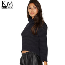 kissmilk 2017Plus Size Solid Black Turtleneck  Women Sweaters High-low Full Sleeve Knitted Female Short Big Pullovers Lady