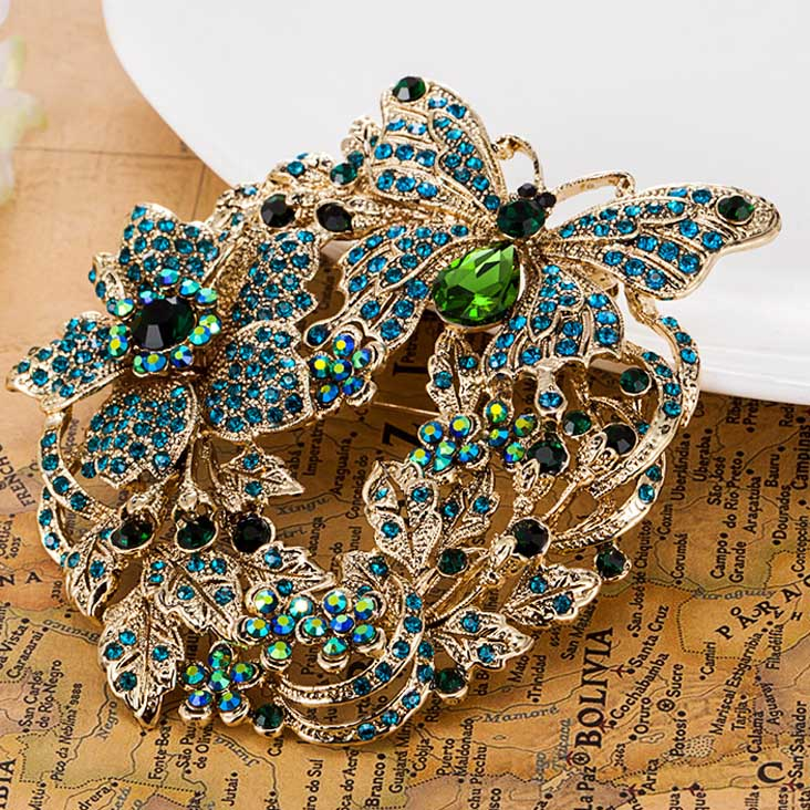 big Size Butterfly Brooches Collares Flower Brooch Pin Fashion Women Wedding Broches Brand Austrian Crystal Brooch