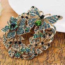Tamaño grande de La Mariposa Collares de Flores Broches Broche de Moda Pin Mujeres Broches de La Boda Marca de Cristal Austriaco Broche Pins Hijab