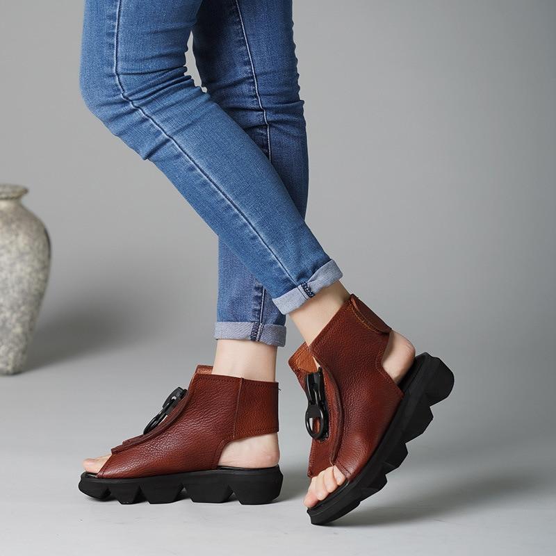 Ayakk.'ten Ayak Bileği Çizmeler'de Kadın Deri Çizmeler Sandalet 3 Cm Düşük Topuklu Yaz Ayakkabı Bayan Rahat yarım çizmeler Kadın El Yapımı Hakiki Deri Çizmeler Peep Toe'da  Grup 1