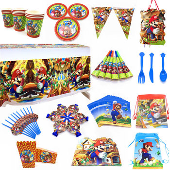 Super Mario Theme Disposable Plates Cups Napkins Mario Bros Game Party Decorations Candy Boxes Blowouts Banners Party Supplie image