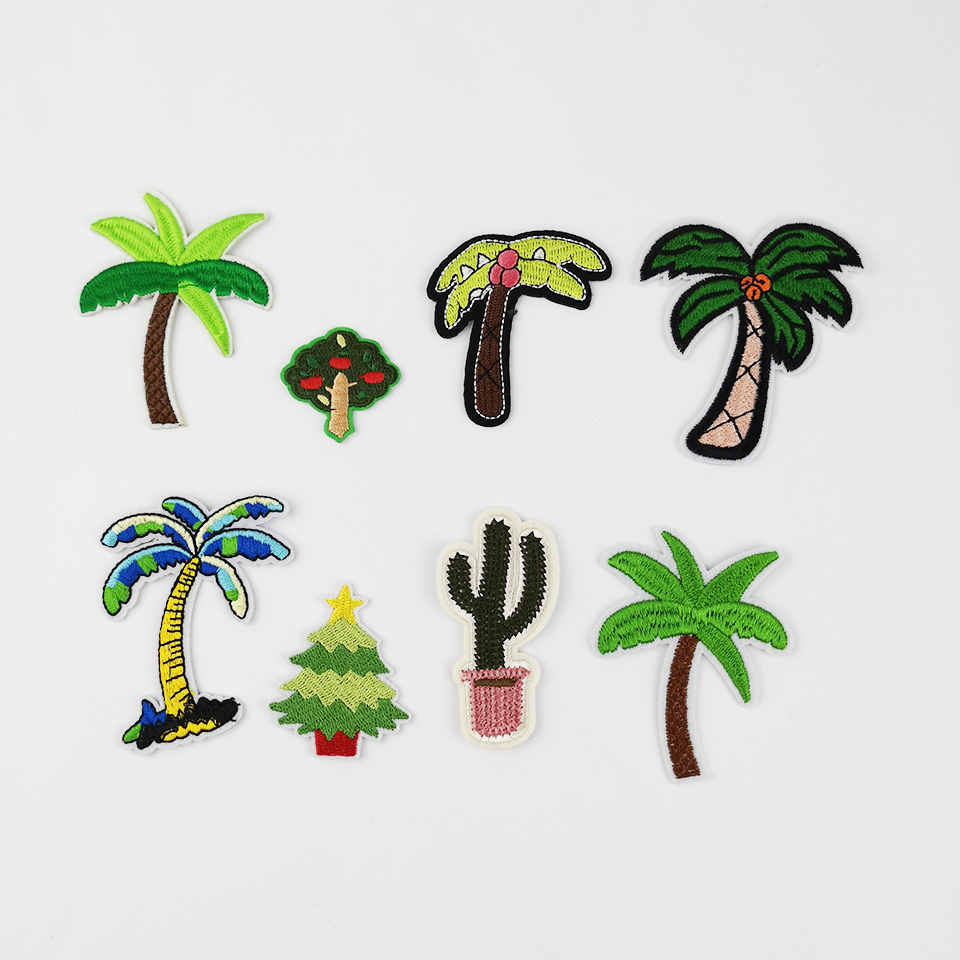 Christmas Tree Patch: 3D Embroidery Patch Christmas Tree Coconut Tree Cactus