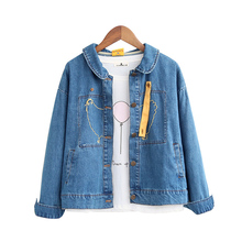 Chick embroidery peter pan collar long sleeve denim personality jacket coat mori girl 2016 autumn preppy style lovely jacket