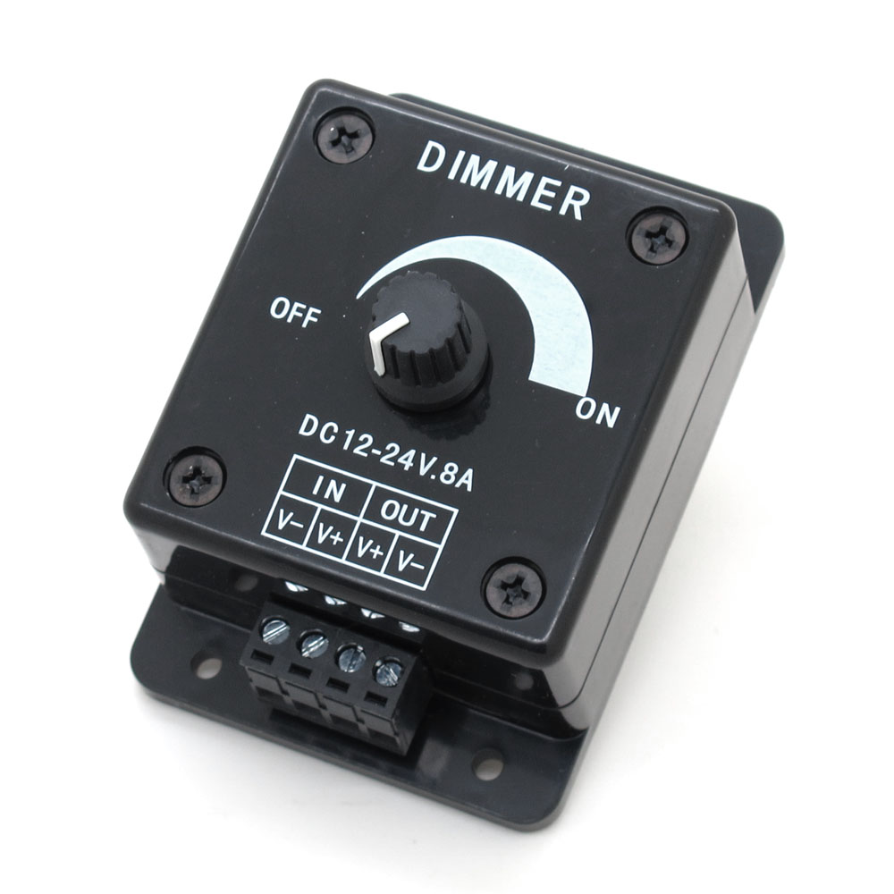 Black LED Dimmer DC 12V 24V 8A Adjustable Brightness Controller Switch Lamp Bulb Strip Driver Single Color Light Power Supply