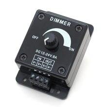 Siyah LED Dimmer DC 12V 24V 8A ayarlanabilir parlaklık kontrol anahtarı lamba ampulü şerit sürücü tek renk ışık güç kaynağı