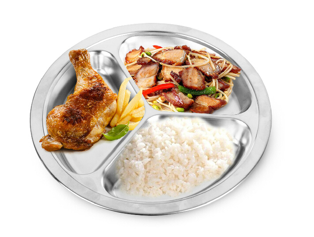 Free Shipping 25cm Stainless Steel Fast Food Dish Pan Thickening Plate Dinner