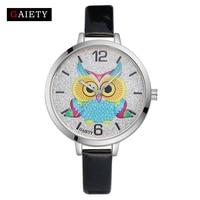 Gaiety Brand Luxury Women Women Owl Dial Fashion Quartz Wrist Watch Leather Watch Lady Famous Female White Silver Watches G172