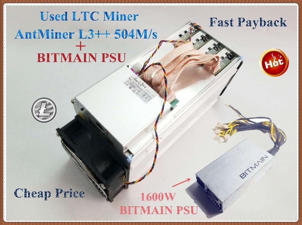 Utilizzato ANTMINER L3 + + 580 m Con BITMIAN APW3 + + 1600 w PSU LTC Scrypt Minatore Meglio di ANTMINER L3 l3 +