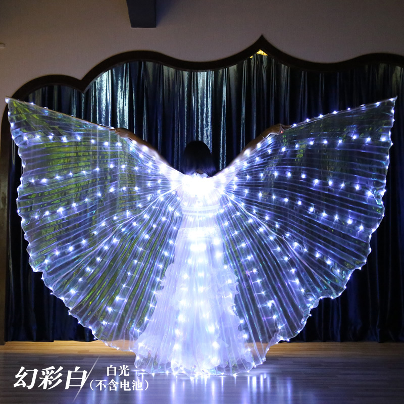 Large Colored Belly Dance LED Wings Butterfly Dancer Costume For Women Glowing Oriental Indian Bellydance Dancing Accessory Lite
