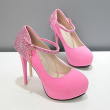 New Spring 2017 Women Pumps Thin High Heel Shoes Sexy Ladies Party Shoes Bling Heels Ankle Strap Women Stage Shoes 568-13