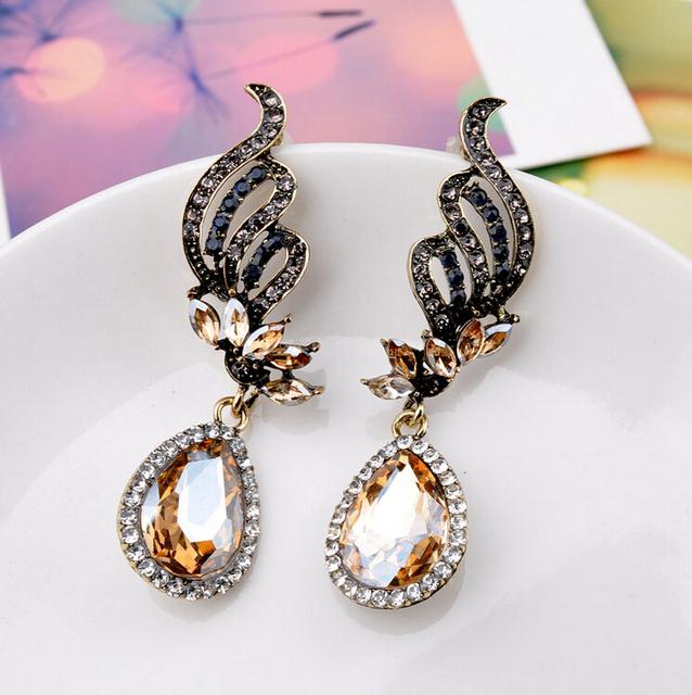 Water Drop Angel Wings Crystal Earrings