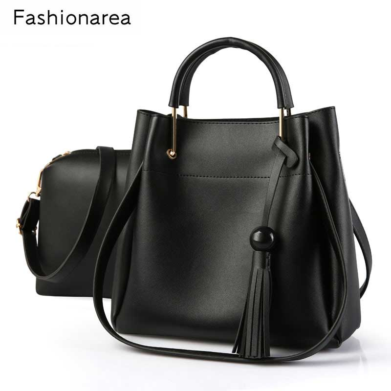 Women's Handbag High Quality PU Leather Woman Bags Handbags Women Tassel Decora Casual Tote Bag Black Ladies Shoulder Bags 2 Set