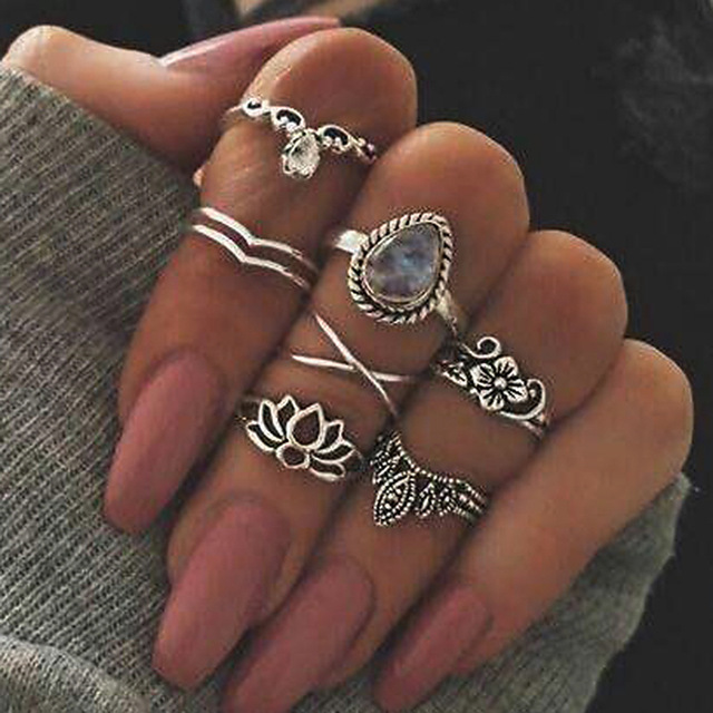 WLP new ring finger knuckle Bohemian retro Crown leaf tail ring gypsy ring set a
