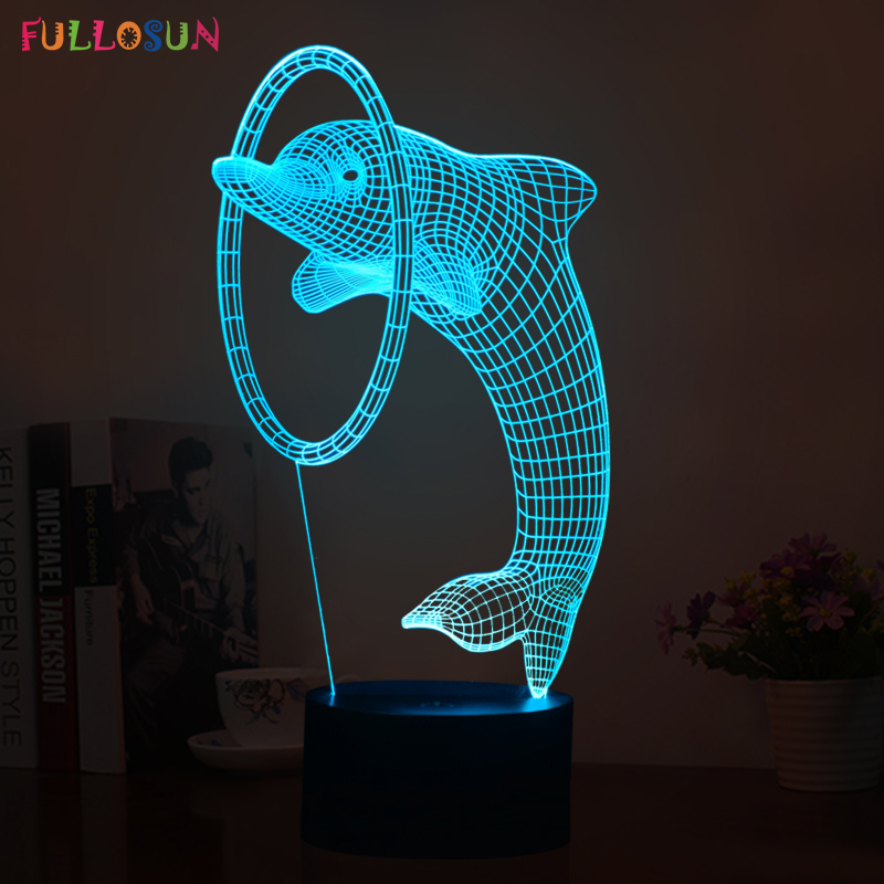 3D illusion Led night light 7colors dolphin lamp table novelty products christmas lights with touch button children night light