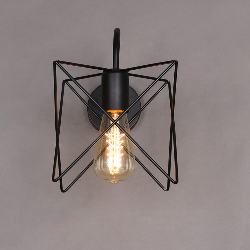 Vintage Iron Cage Wall Lamp Industrial Wall Light Decorative Wall Sconce Bar Restaurant Fixture Lighting HM39
