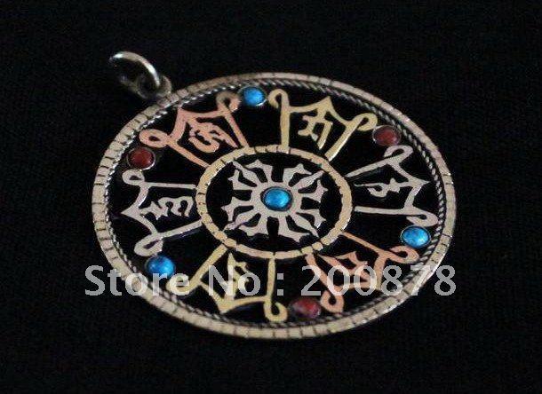 TBP070  Tibetan six words mantras amulet pendant,40mm,hollow Engraved cross dorje wholesale Tibet Amulets