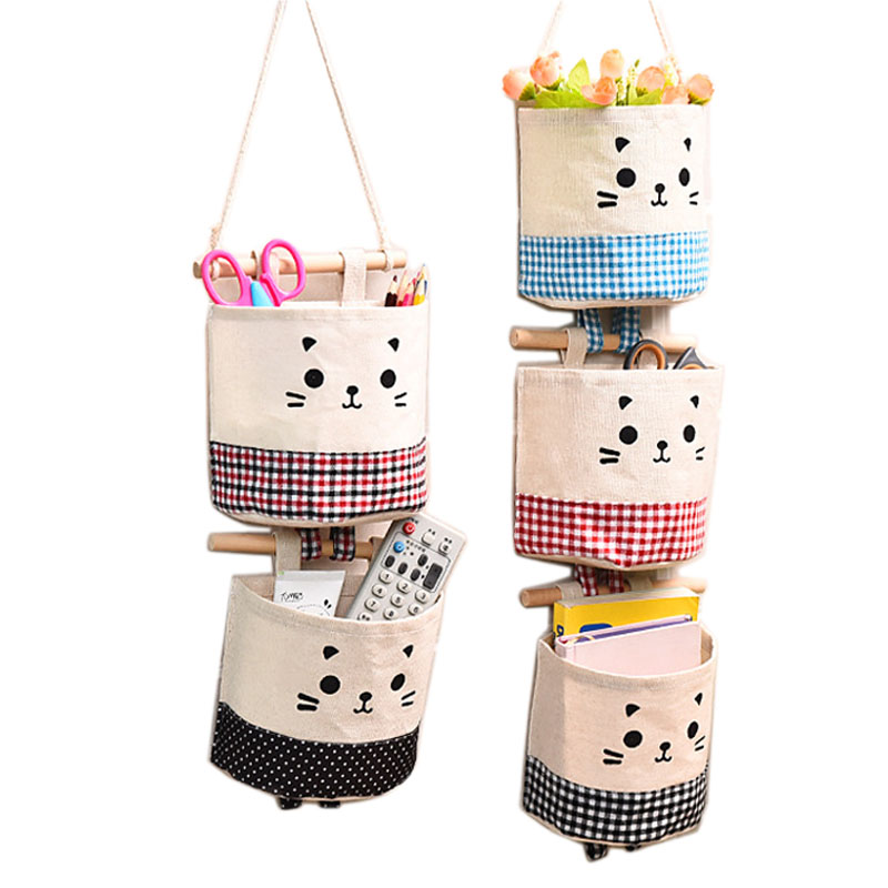 1 PCS Canvas Cute Cat Pattern Wall Hanging Bag For Organizer Cosmetic Waterprool Storage Sundries Bags For Decorate Home