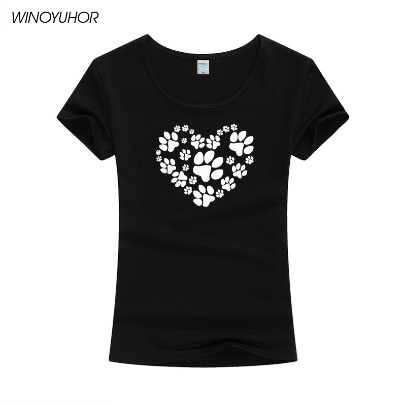 2019 New Fashion Dog Paw Print T-Shirt Women Short Sleeve Tshirt Tops Femme Funny Tumblr T Shirt Camiseta Femenina