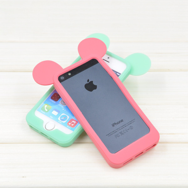 da2fec06940 Black 3D Mickey mouse ears silicon frame bumper for iPhone 7 iPhone 6 5 5S  case soft Rubber lovely cartoon phone cases cover on Aliexpress.com    Alibaba ...