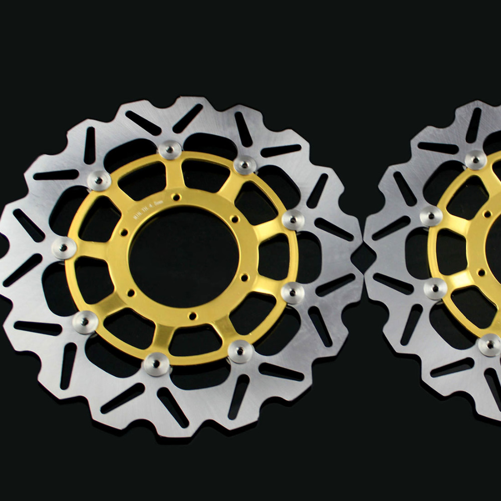 Gold motorcycle Front Disc Brake Rotor Scooter Front Rear Disc Brake Rotor for HONDA CBR600 2007-2013 Pattern 2 pieces motorcycle front disc brake rotor scooter front rear disc brake rotor for honda cb400 1994 1995 1996 1997 1998