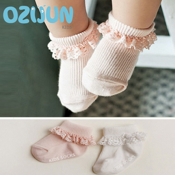 High quality one pairs Korean cotton baby socks rubber slip-resistant solid white pink with lace ruffle trim 0-2/2-3 Years