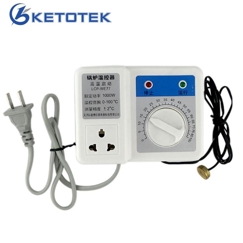 220V 1000W Boiler Temperature Controller Thermostat Regulator Circulating Pump Auto Intelligent Control High Temp Start + Sensor circulating fluidized bed boiler technology