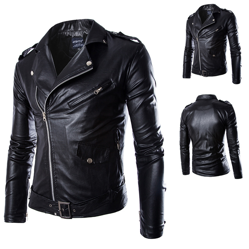 Men's Locomotive Leather Jackets Fashion Brand Coat Biker Jacket ...