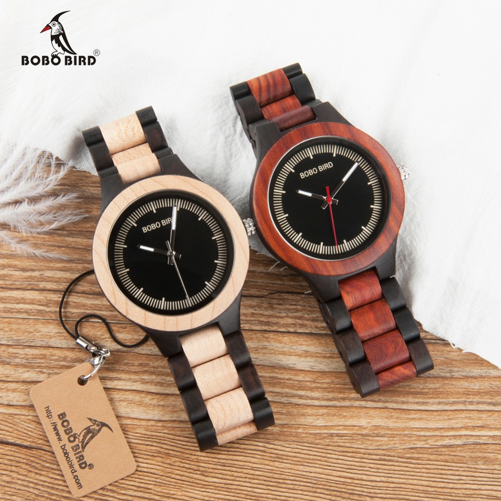 BOBO BIRD WO01O02 Wood Watch Ebony RedWood Pine Wooden Watches for Men Two tone Wood Quartz