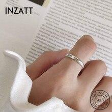 INZATT Настоящее 925 пробы Серебряное минималистичное кольцо с надписью FOREVER для модных женщин, хорошее ювелирное изделие, трендовые аксессуары в подарок