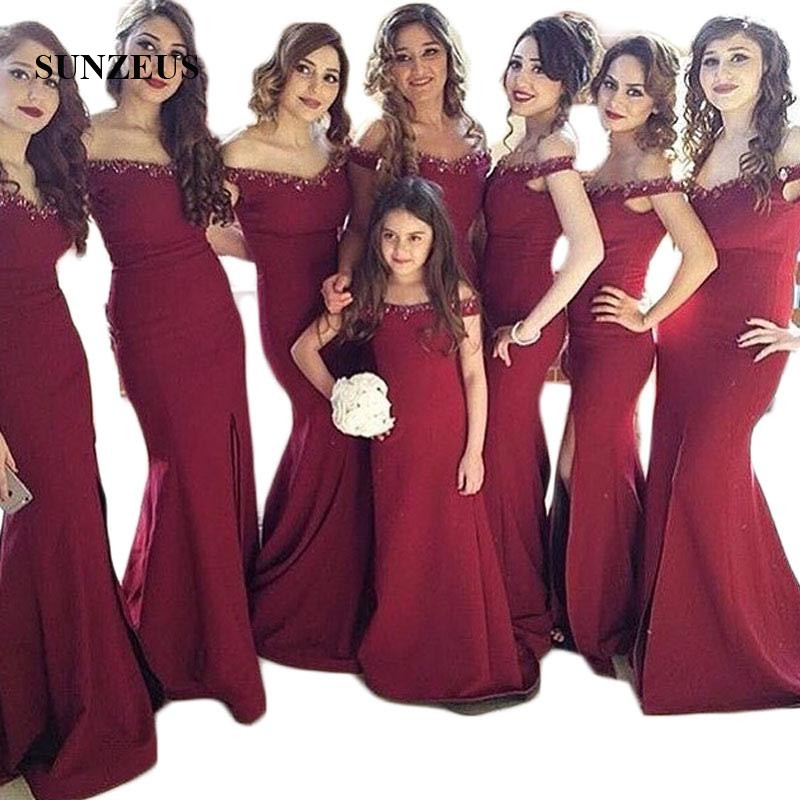 Burgundy Satin Bridesmaid Dresses Sheath Sweetheart Off Shoulder Sequins Beaded Formal Front Leg Split Party Dress