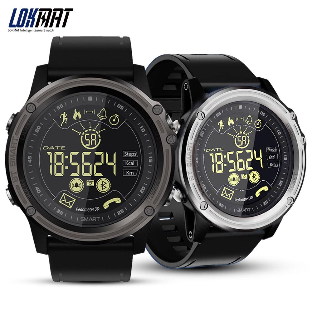 LOKMAT Montre Smart Watch Sport Podomètre Étanche IP68 Bluetooth Hommes Numérique Horloge Appel Rappel SmartWatch Pour ios Android Téléphone