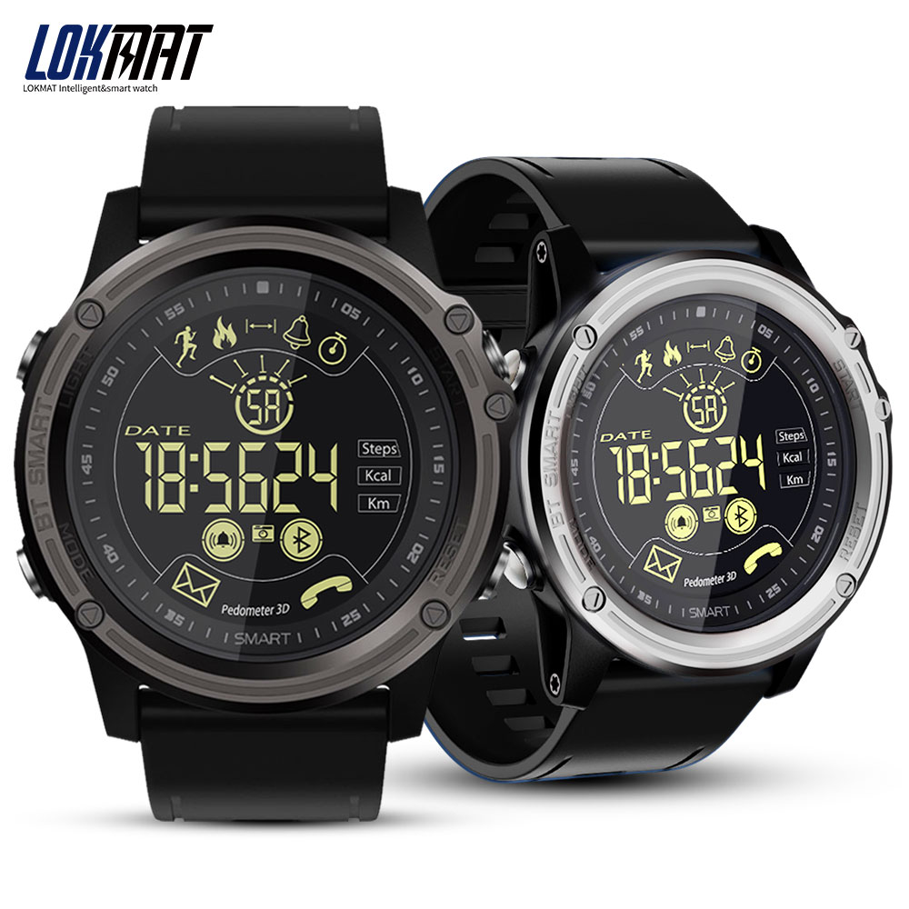 LOKMAT Smart Uhr Sport Schrittzähler Wasserdicht IP68 Bluetooth Männer Digitale Uhr Anruf Erinnerung SmartWatch Für ios Android Telefon