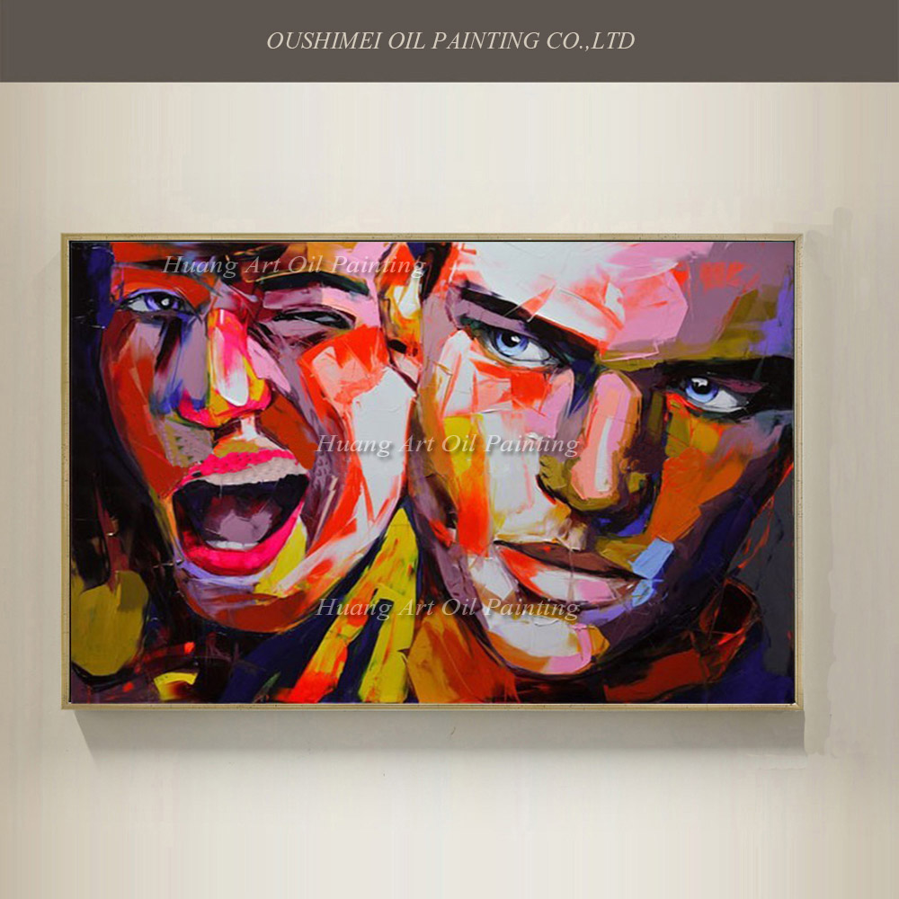 hand painted abstract colourful man's face couple high quality oil painting for home decoration by Francoise Nielly Art