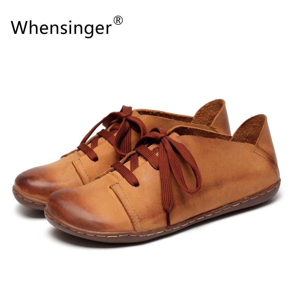 Здесь можно купить   Whensinger - 2017 New Women  Shoes Genuine Leather Lace-Up Flats  Autumn Style 2 Colors 8816 Обувь