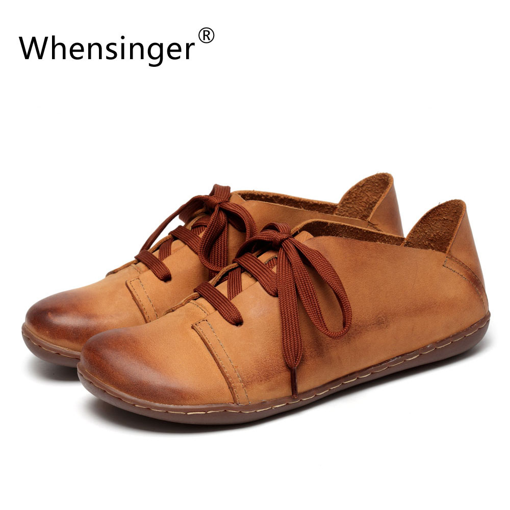 Whensinger - 2018 New Women Shoes Genuine Leather Lace-Up Flats Autumn Style 2 Colors 8816 цена 2017