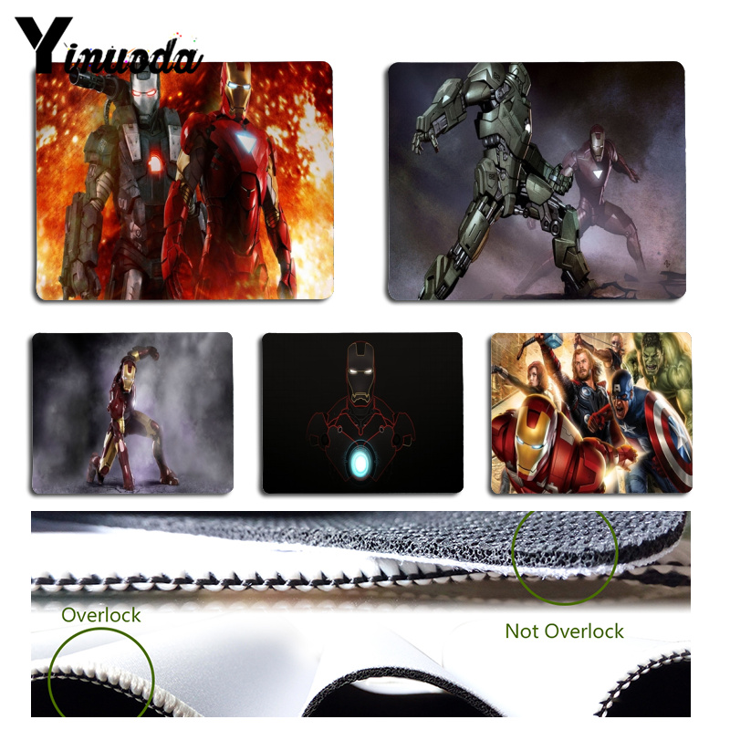 Yinuoda Custom Skin Cool Iron Man Laptop Computer Mousepad Size for 180x220x2mm and 250x290x2mm Rubber Mousemats