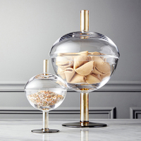 High quality transparent Glass bottles dust proof lid storage cake stand dessert candy jars tea caddy vase creative wedding gift