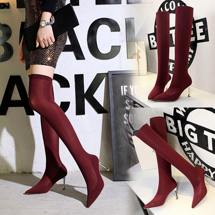 Woman Boots 2018 New Women Shoes Femme Autumn Winter Stretch Over Knee Boots Black Metal Thin High Heels Sexy Party Sock Boots bnc female right angle panel mount plastic type white pc board pcb mount right angle bnc female with nut bulkhead connector 3pcs