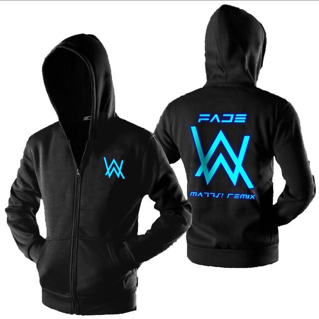 Nueva moda de Alan Walker con cremallera sudaderas con capucha luminoso  brillante oscuro sudadera Hip Hop 679e14e89b9