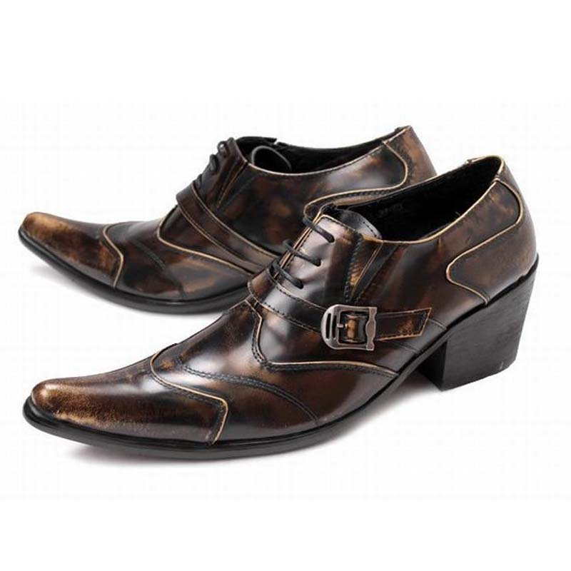 men luxury genuine leather vintage high heels fashion buckle pointed toe retro men party dress shoes punk rock gentleman oxfords plus size 2016 new formal brand genuine leather high heels pointed toe oxfords punk rock men s wolf print flats shoes fpt314