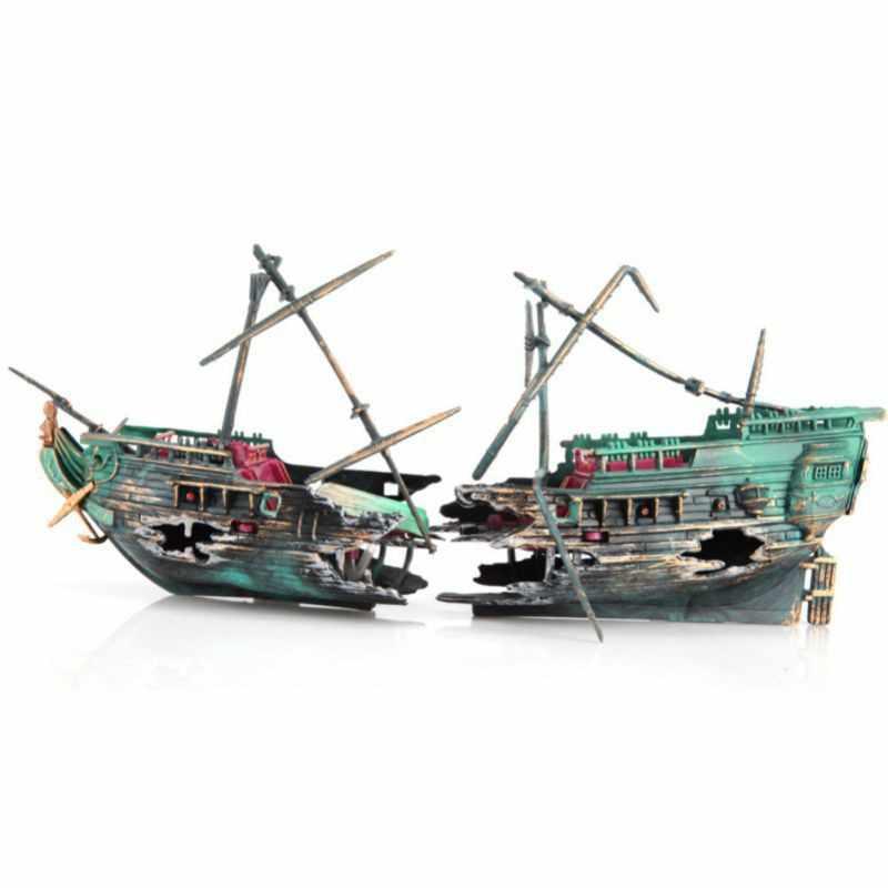 Large Aquarium Decoration Plactic Ship Boat Air Split Shipwreck