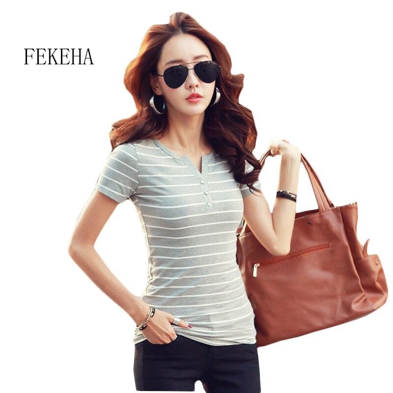 Fekeha T Hemd Femme 2019 Sommer Gestreiften T-shirts V-ausschnitt Kurzarm Frauen Kleidung Weibliche T-shirt Frauen 5xl Plus Größe Kleidung Moderne Techniken Gepäck & Taschen