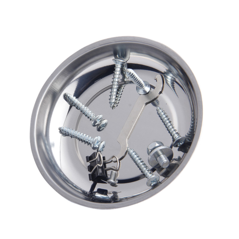 Screw Tray With Magnetic Stainless Steel Circular Magnetic Tray For Automotive Parts Suction Pad Absorb Dish Tools 1pc