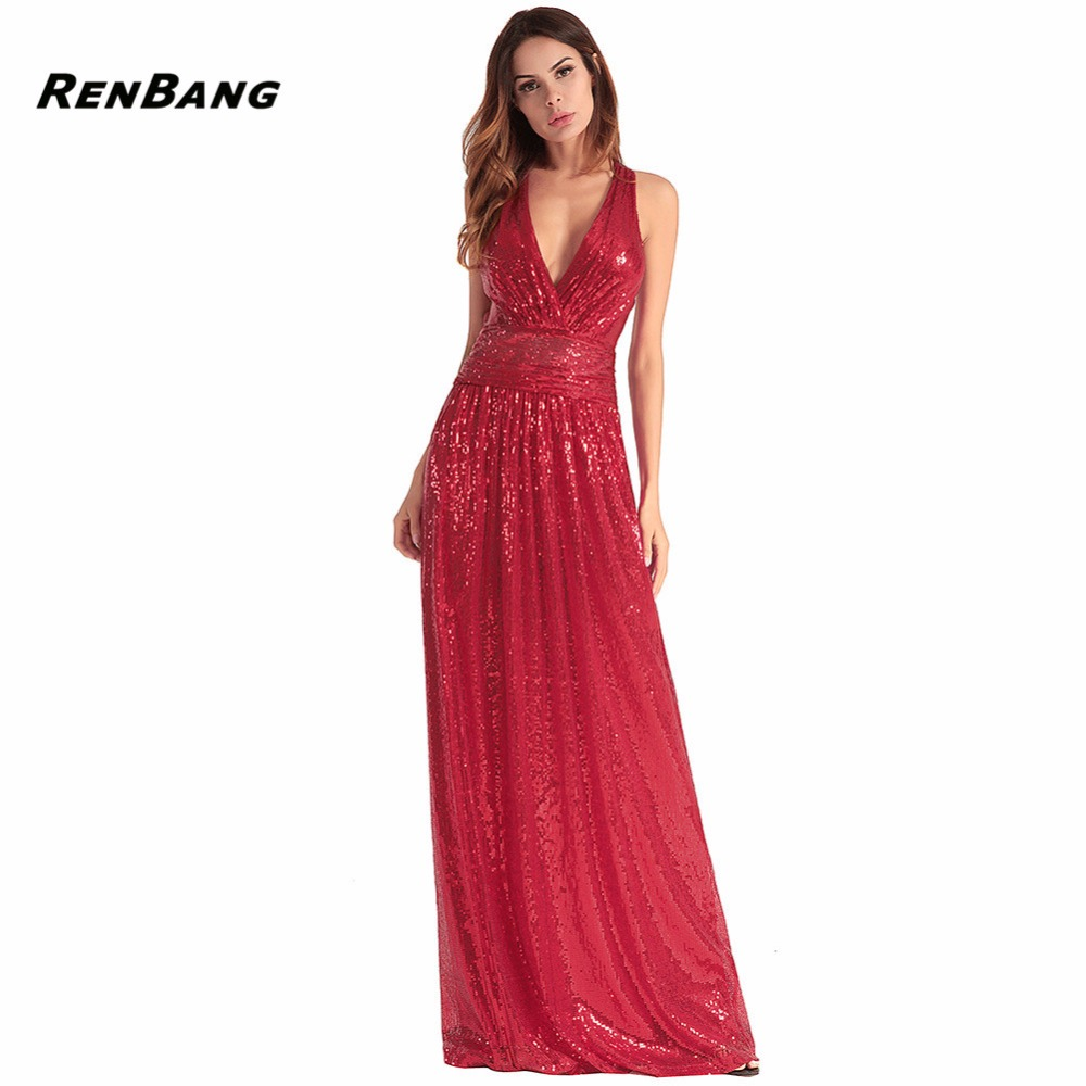 RENBANG New Style Backless Party Dresses Women V-Neck Sequins Sleeveless Dress Ladies Sexy Solid Evening Long Dress Vestido 2018 ladies women casual knitted dress sexy strap slip sleeveless v neck solid home bottoming straight sweater dress