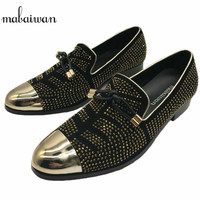 New Gold Rhinestone Metal Pionted Toe Men Shoes Loafers Party Office Shoes Slip On Casual Shoes